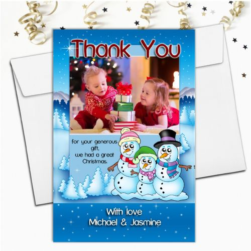 10 Personalised Christmas Thank you Cards Snowman PHOTO Frame N24